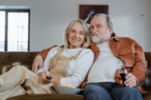 A senior couple enjoying retirement at their Florida home