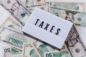 Taxes written in capitalized font
